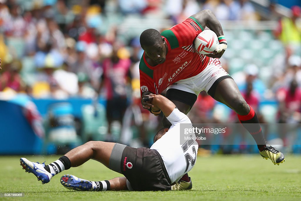 Vatemo Ravouvou of Fiji tackles Andrew Amonde of Kenya during the 2016 Sydney Sevens cup quarter final match between Fiji and Kenya at Allianz Stadium on February 7, 2016 in Sydney, Australia.