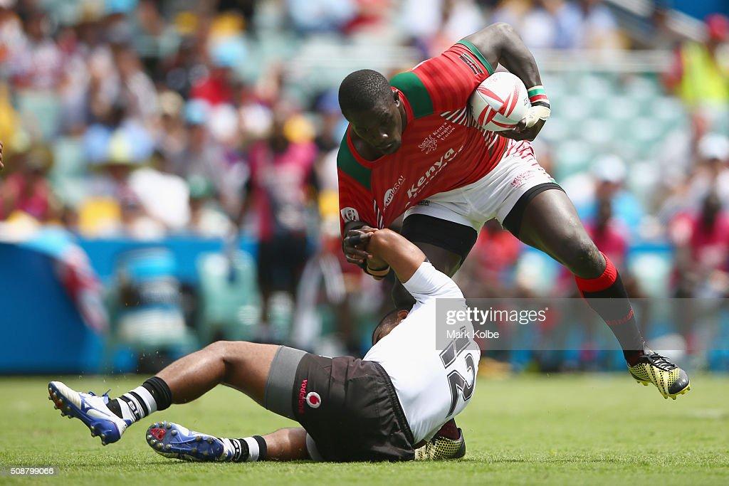 Vatemo Ravouvou of Fiji tackles Andrew Amonde of Kenya during the 2016 Sydney Sevens cup quarter final match between Fiji and Kenya at Allianz Stadium on February 7, 2016 in Sydney, Australia.
