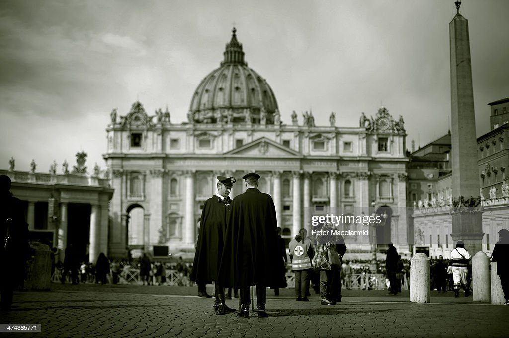 Vatican City police stand in St Peter's Square before Pope Francis gives the Angelus blessing on February 23, 2014 in Vatican City, Vatican. Pope Francis created 19 new cardinals yesterday in a ceremony in St Peter's Basilica.