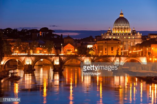 Vatican City Sunset St Peters Basilica River Tiber Rome