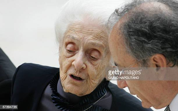 Italian Rita LeviMontalcini a Nobel Prize Laureate in Physiology and Medicine arrives at the auditorium in Rome 15 March 2006 for a concert organised...