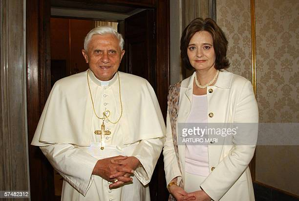 Pope Benedict XVI meets wife of British Prime Minister Cherie Blair during a private audience at the Vatican 28 April 2006 AFP PHOTO/OSSERVATORE...