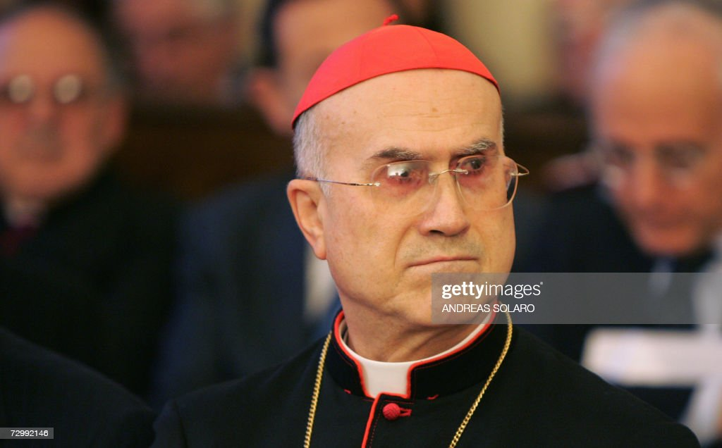 Vatican Secretary of State Italian Cardinal Tarcisio Bertone attends a ceremony to mark the start of the Vatican's judicial year in the Vatican's...