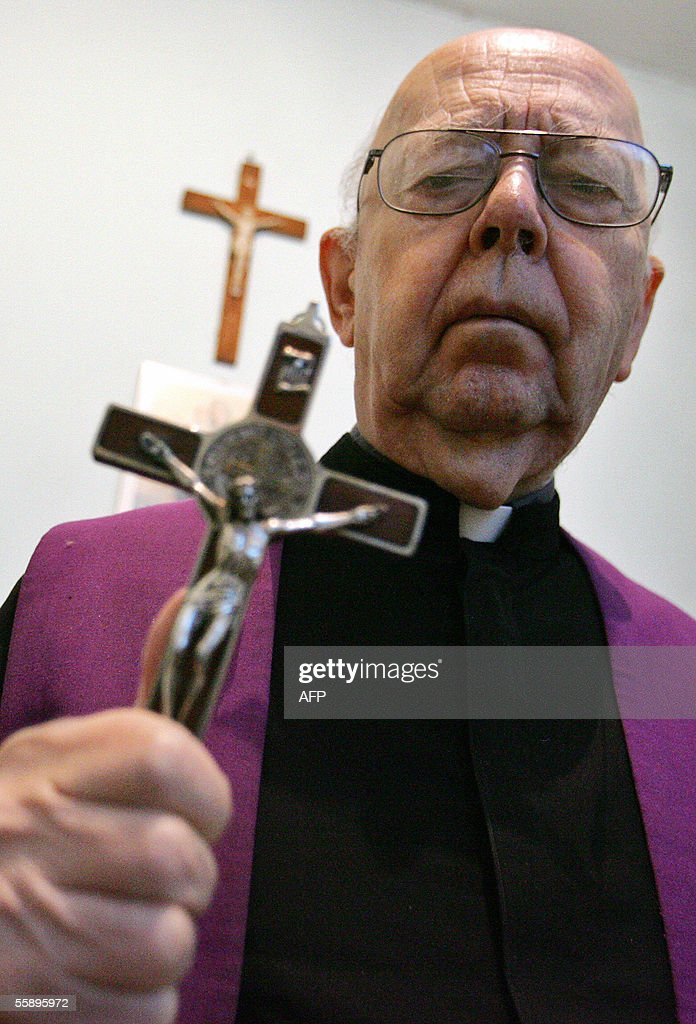 Don Gabriele Amorth an exorcist in the diocese of Rome and the president of honour of the Association of Exorcists poses 10 October 2005 in Rome For...