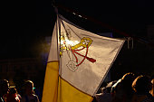A Vatican flag seen during the Tuesday evening concert in Krakow's Main Square due to the rain On Tuesday 26 July 2016 in Krakow Poland