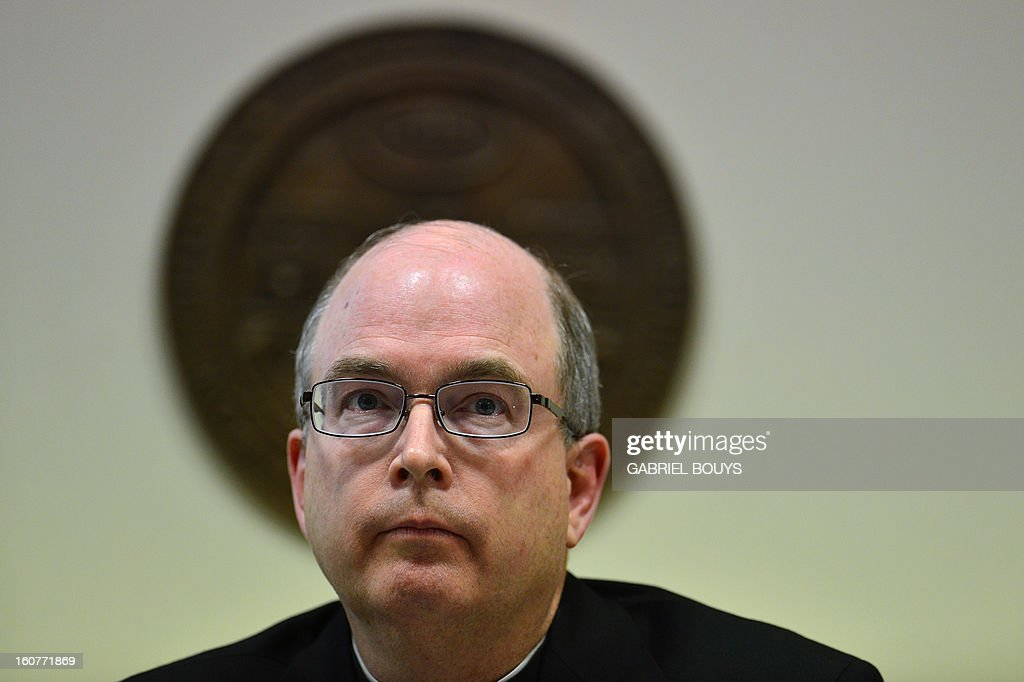 Vatican prosecutor, US reverend Robert W. Oliver gives a press conference at the Gregorian University on February 5, 2013 in Rome. Pope Benedict XVI appointed Reverend Robert W. Oliver as Promoter of Justice for the Congregation of the Doctrine of the Faith, one of the central offices of the Holy See in December 2012. The position of Promoter of Justice at the Congregation is similar to that of prosecutor in civil law and carries responsibility for investigating more serious crimes in the Church such as desecrating the Holy Eucharist, or violating the seal of confession. It also includes responsibility for the investigation of the sexual abuse of minors by clerics.