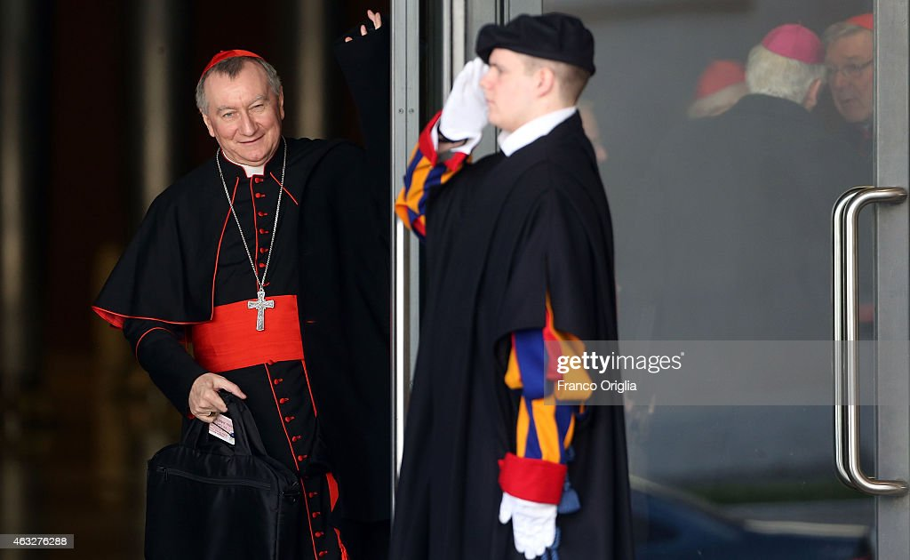 Vatican Secretary of State cardinal Pietro Parolin leaves the Synod Hall at the end of the opening session of the Extraordinary Consistory on February 12, 2015 in Vatican City, Vatican. Pope Francis summoned cardinals from around the world to help carry out his mandate to reform the Vatican's central government , or Curia, by proposing reforms to encourage greater harmony, collaboration and transparency.