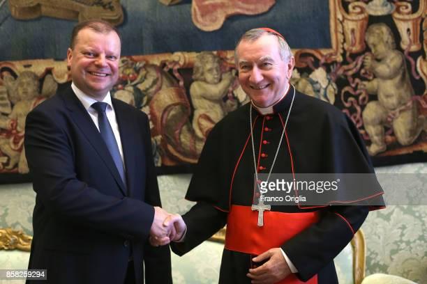 Vatican Secretary of State cardinal Pietro Parolin meets Lithuania Prime Minister Saulius Skvernelis during an audience at the Apostolic Palace on...