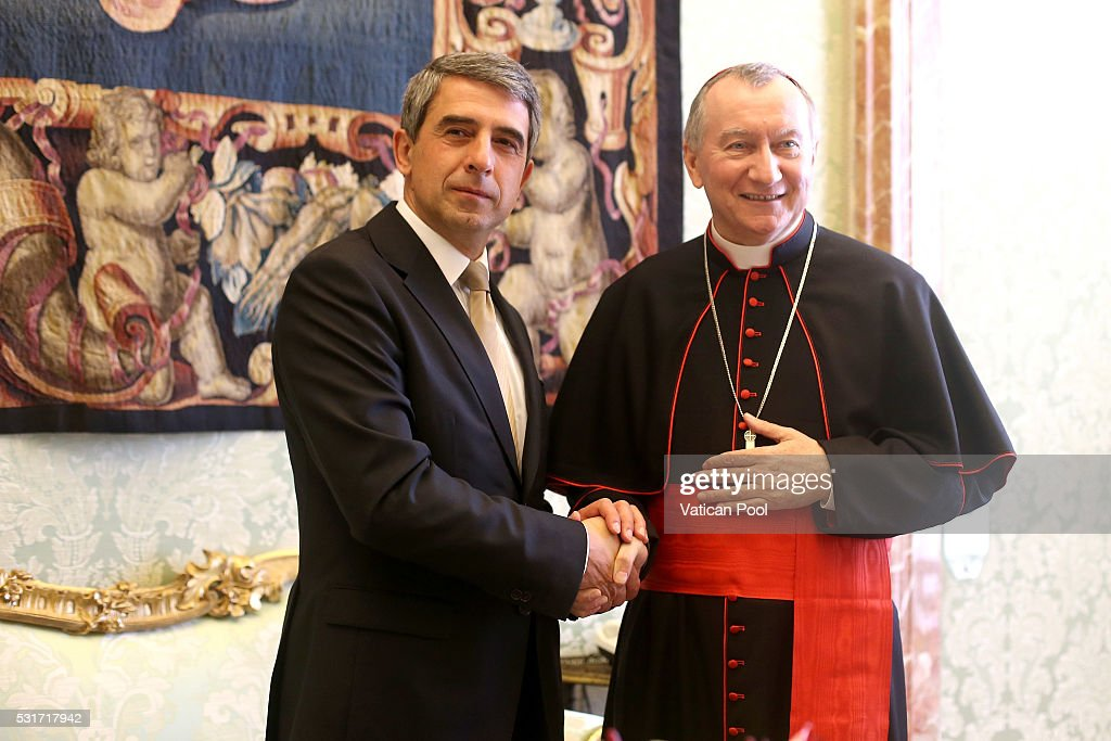 Vatican Secretary of State cardinal <a gi-track='captionPersonalityLinkClicked' href=/galleries/search?phrase=Pietro+Parolin&family=editorial&specificpeople=6255828 ng-click='$event.stopPropagation()'>Pietro Parolin</a> meets President of Bulgaria Rossen Plevneliev and his delegation during an audience at the Apostolic Palace on May 16, 2016 in Vatican City, Vatican. Pope Francis led an in-depth discussion on Thursday about the role of women in the Church, saying he wants to set up a commission to study the possibility of reinstating female deacons.
