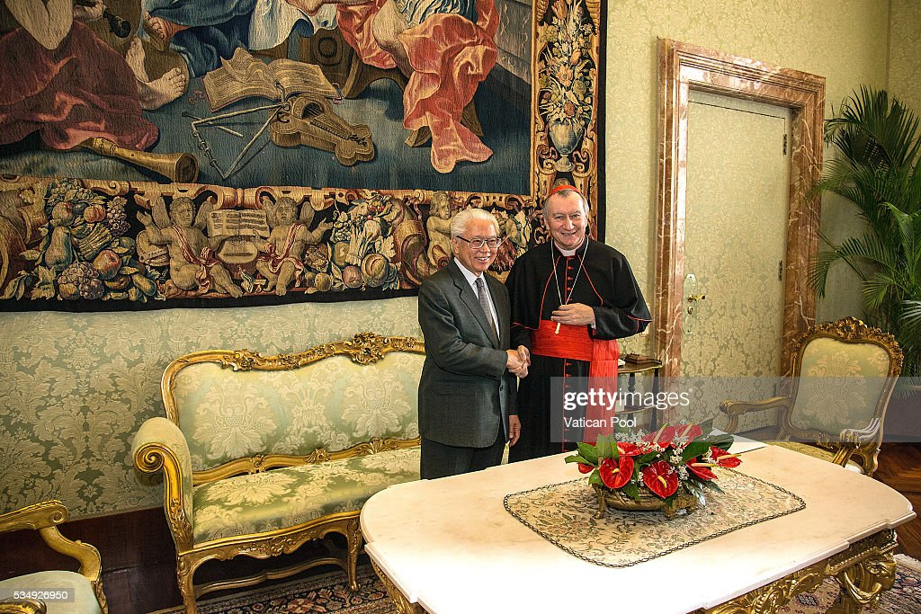 Vatican Secretary of State cardinal <a gi-track='captionPersonalityLinkClicked' href=/galleries/search?phrase=Pietro+Parolin&family=editorial&specificpeople=6255828 ng-click='$event.stopPropagation()'>Pietro Parolin</a> meets President of the Republic of Singapore <a gi-track='captionPersonalityLinkClicked' href=/galleries/search?phrase=Tony+Tan+Keng+Yam&family=editorial&specificpeople=6629941 ng-click='$event.stopPropagation()'>Tony Tan Keng Yam</a> at the Apostolic Palace on May 28, 2016 in Vatican City, Vatican. Two leaders spoke about certain international issues and the regional political situation, with particular reference to the importance of interreligious and intercultural dialogue for the promotion of human rights, stability, justice and peace in Southeast Asia.