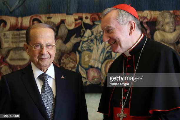 Vatican Secretary of State cardinal Pietro Parolin meets President of Lebanon Michel Aoun during an audience at the Apostrolic Palace on March 16...
