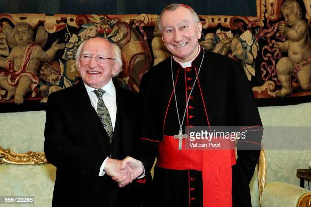 Vatican Secretary of State cardinal Pietro Parolin meets President of Ireland Michael Daniel Higgins at the Apostolic Palace on May 22 2017 in...