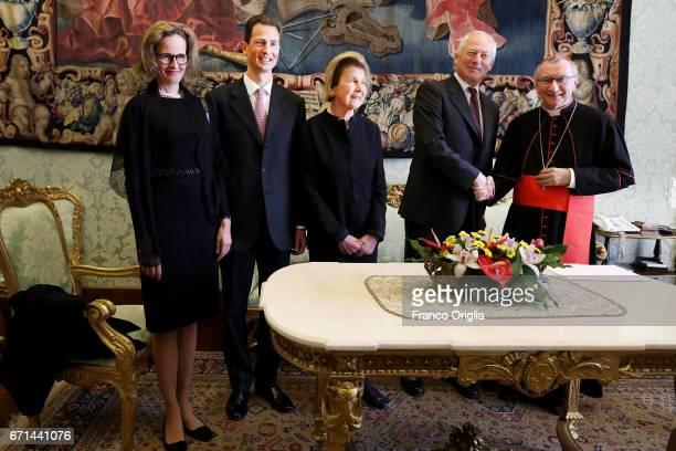Vatican secretary of State cardinal Pietro Parolin meets with Prince HansAdam of Liechtenstein his wife Princess Marie and Hereditary Prince Alois of...
