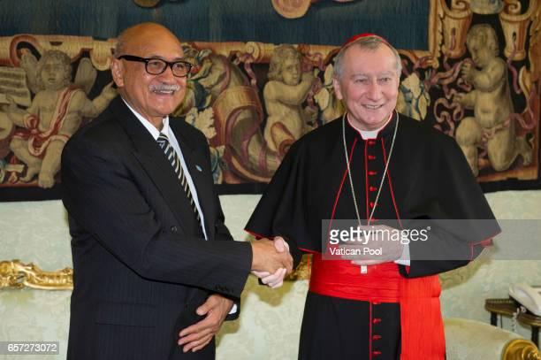 Vatican secretary of State cardinal Pietro Parolin receives President of Fiji Jioji Konousi Konrotea in a private audience at the Apostolic Palace on...