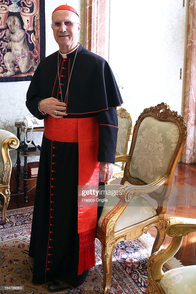 Vatican Secretary of State cardinal <a gi-track='captionPersonalityLinkClicked' href=/galleries/search?phrase=Tarcisio+Bertone&family=editorial&specificpeople=549351 ng-click='$event.stopPropagation()'>Tarcisio Bertone</a> meets Cyprus President Demetris Christofias at his private studio on October 25, 2012 in Vatican City, Vatican. The President and his wife are on a one day official visit to the Vatican.