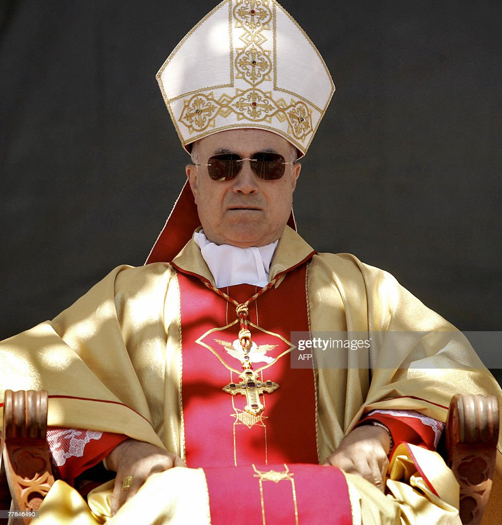 Vatican secretary of state Cardinal Tarcisio Bertone rests during the beatification ceremony of Mapuche Indian Ceferino Namuncura in the small...