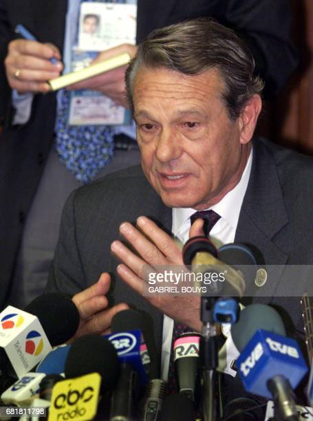 Vatican spokeman Joachin NavarroValls gives a press conference 13 May 2000 to announce the publication of the 'third secret' in Fatima 13 May 2000...