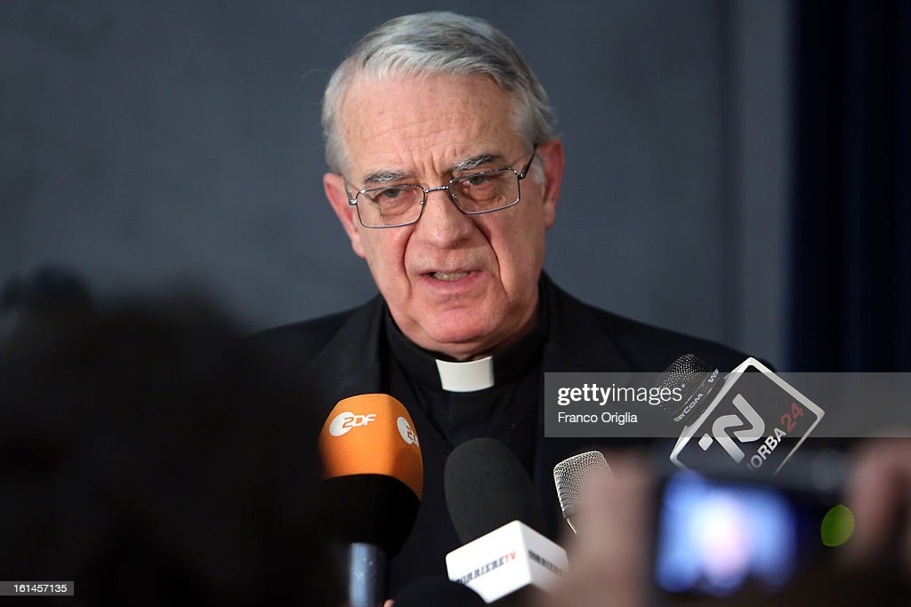 Vatican Spokesman Federico Lombardi holds a meeting with media accredited to the Vatican, at the Holy See Press Room on February 11, 2013 in Vatican City, Vatican. Pope Benedict XVI today announced that he is to retire on February 28 for health reasons.