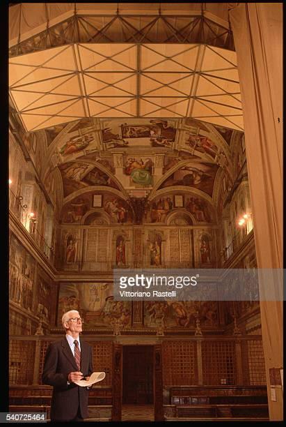 Vatican spokesperson Joaquin NavarroValls supervises the restoration of Michaelangelo's frescoes in the Sistine Chapel Rome Italy