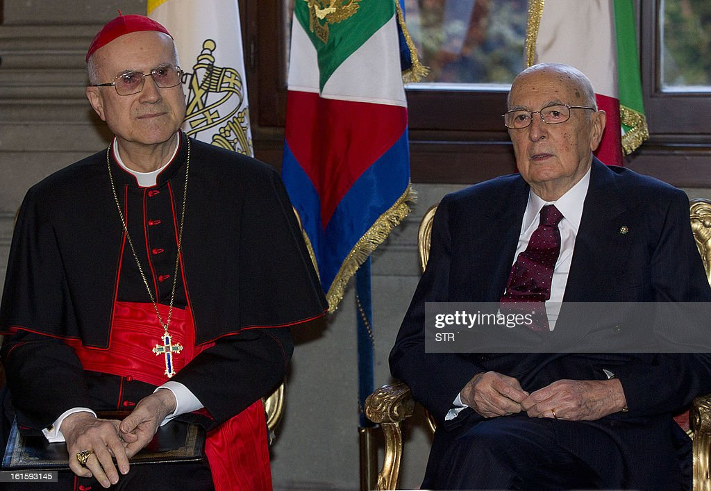Vatican State Secretary cardinal Tarcisio Bertone sits next to the Italian President Giorgio Napolitano during a ceremony for the anniversary of the...