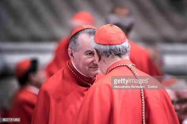 Vatican State Secretary Pietro Parolin talk prior a Consistory Ceremony lead by Pope Francis on June 28 2017 in Vatican City Vatican Pope Francis on...
