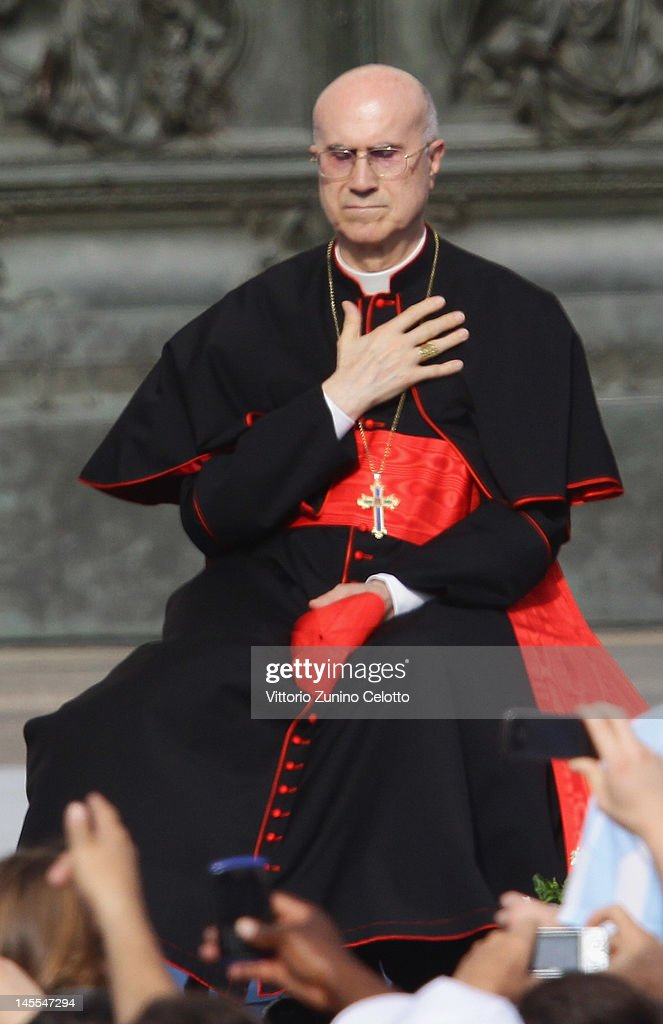 Vatican State Secretary Tarcisio Bertone attends the 2012 World Meeting of Families on June 1 2012 in Milan Italy The World meeting of families was...