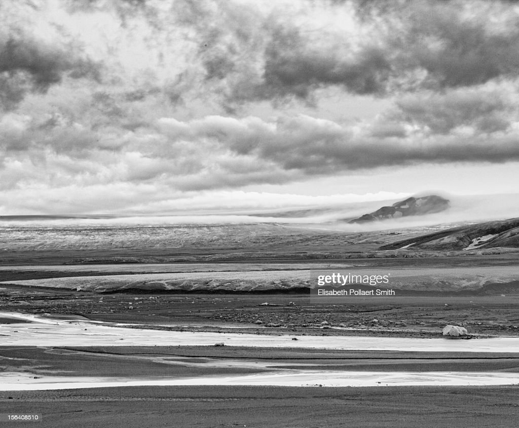 Vatnajokull glacier in Iceland with ash and snow : Stock Photo