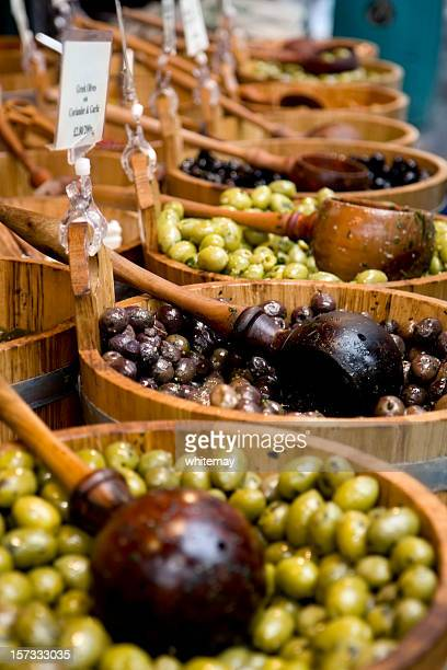 Vats of olives