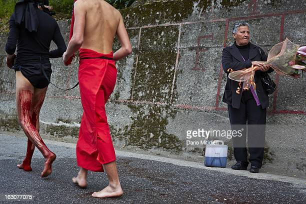 A Vattiente and his Ecce Homo walking during the procession of the Madonna Addolorata in Nocera Terinese Italy April 7 2012 The Ecce Homo is a...