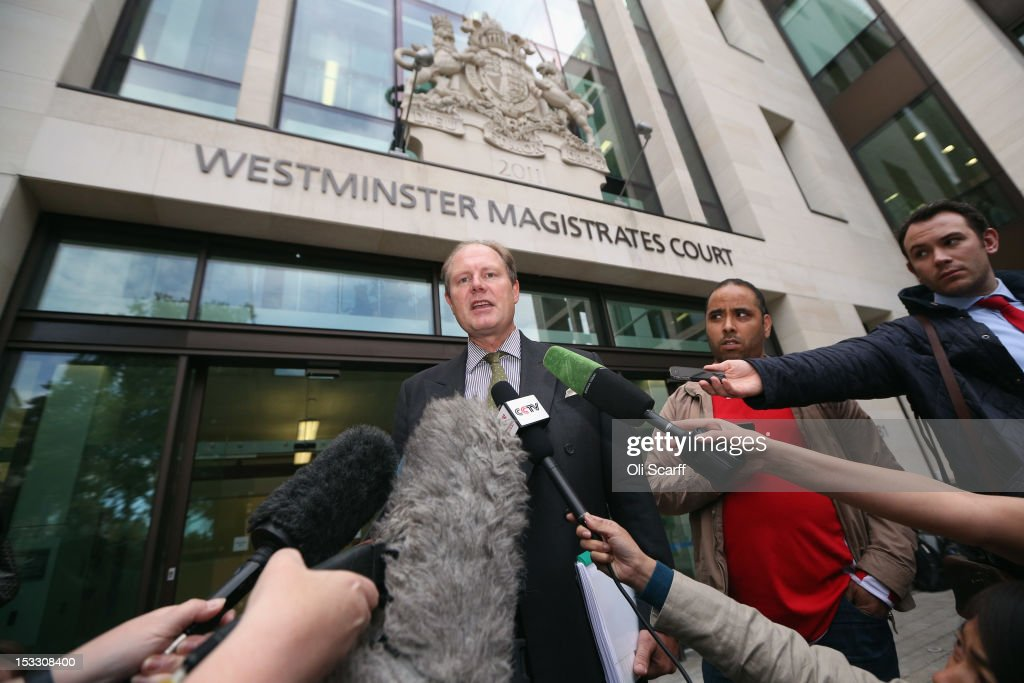 Vaughan Smith a supporter of WikiLeaks founder Julian Assange addresses the media outside Westminster Magistrates Court on October 3 2012 in London...