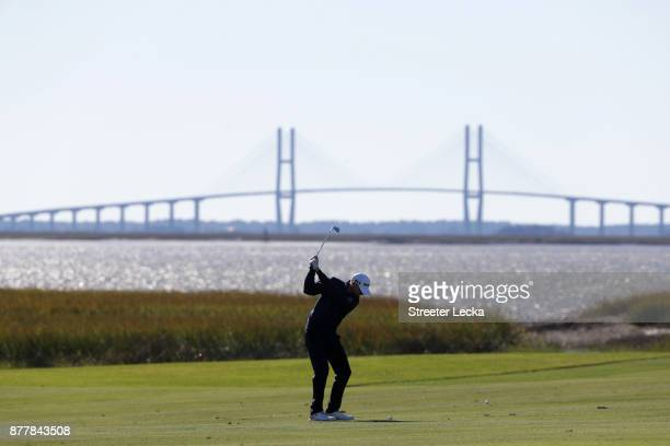 Vaughn Taylor of the United States plays a shot on the 13th hole during the final round of The RSM Classic at Sea Island Golf Club Seaside Course on...