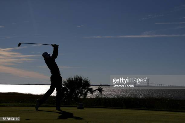 Vaughn Taylor of the United States plays his shot from the 14th tee during the final round of The RSM Classic at Sea Island Golf Club Seaside Course...