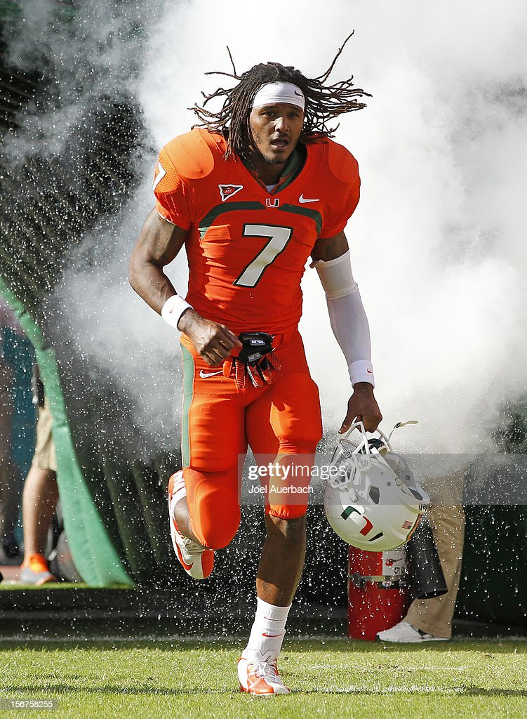 Vaughn Telemaque #7 of the Miami Hurricanes is introduced to the crowd during senior day prior to the game against the South Florida Bulls on November 17, 2012 at Sun Life Stadium in Miami Gardens, Florida. The Hurricanes defeated the Bulls 40-9.
