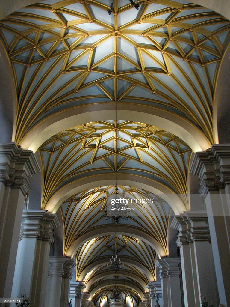 Vaulted cathedral ceiling stock photo getty images for What is a vault ceiling