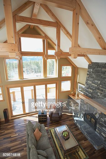 Vaulted ceiling in chalet : ストックフォト
