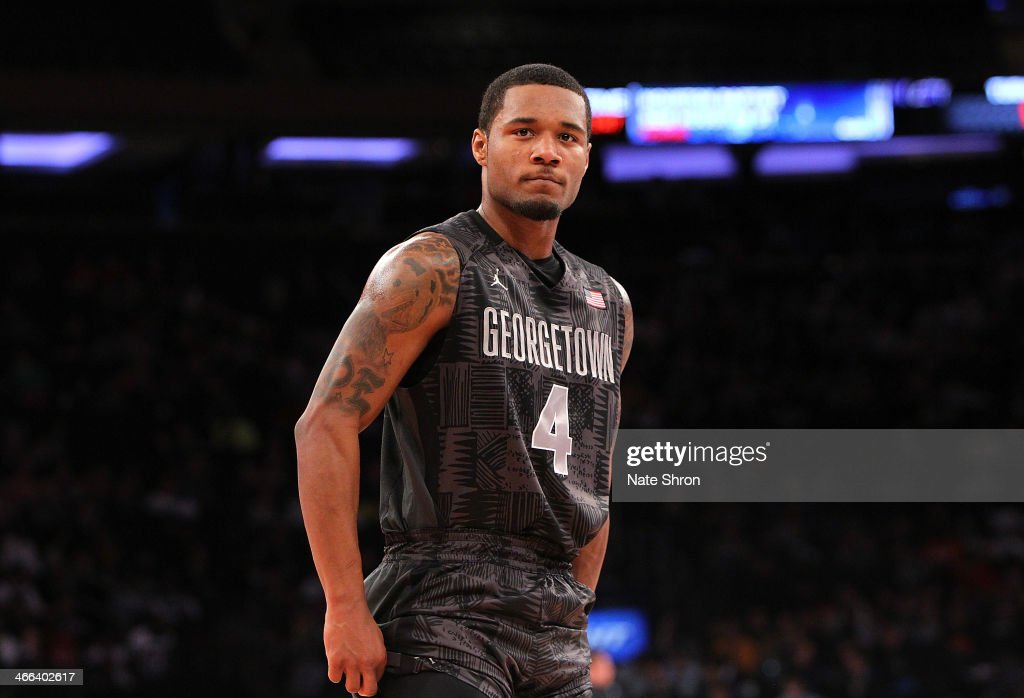 D'Vauntes Smith-Rivera #4 of the Georgetown Hoyas looks on during the game against the Michigan State Spartans at Madison Square Garden on February 1, 2014 in New York City.