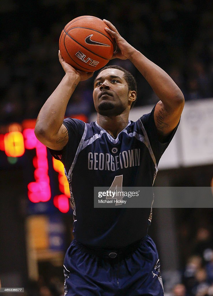 D'Vauntes Smith-Rivera #4 of the Georgetown Hoyas shoots a free throw during the game against the Butler Bulldogs at Hinkle Fieldhouse on January 11, 2014 in Indianapolis, Indiana. Georgetown defeated Butler 70-67.