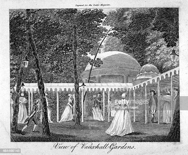 Vauxhall Gardens Lambeth London c1750 View of Vauxhall Gardens with figures strolling along covered walkways