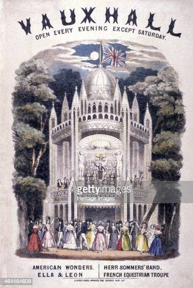 Vauxhall Gardens Lambeth London c1820 open every evening except Saturday American Wonders Ella and Leon Herr Sommers' Band French Equestrian Troupe...