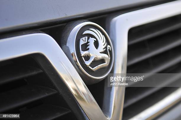 A vauxhall logo radiator badge is pictured on October 4 2015 in Southend on Sea England