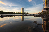 Vauxhall low tide sunset