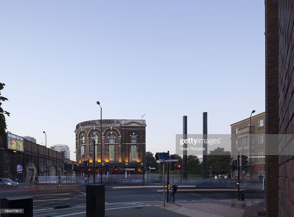 Vauxhall Spring Gardens Dsdha London United Kingdom Grand View Of Park Entrance And Vauxhall Tavern At Dusk Dsdha Architects United Kingdom Architect