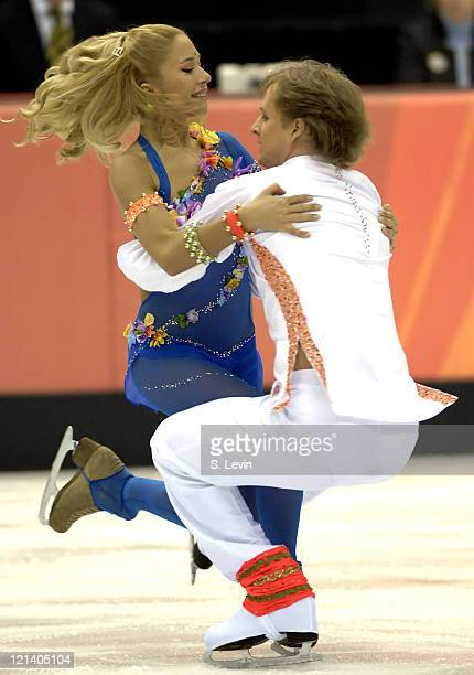 Vazgen Azrojan and Anastasia Grebenkina of Armenia during the Ice Dancing Free Skate Program at the 2006 Olympic Games at the Palavela in Torino...