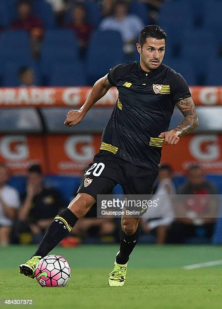 Víctor Machín Pérez of Sevilla FC in action during the preseason friendly match between AS Roma and Sevilla FC at Olimpico Stadium on August 14 2015...