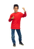 Studio shot of a young boy isolated on white