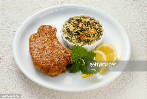 Veal Cutlet with Chard au gratin