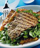 Veal steak with spinach & potato cakes