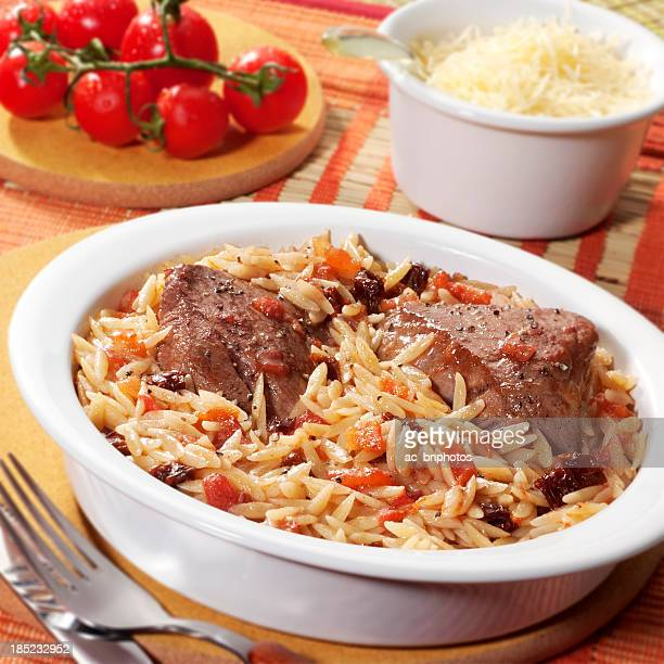 Veal with orzo pasta