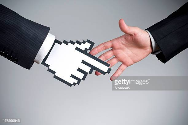 Vector cursor handshake on a real hand