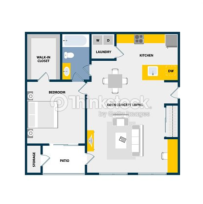 Vector Floor Plan Top View With Furniture Graphic Elements One